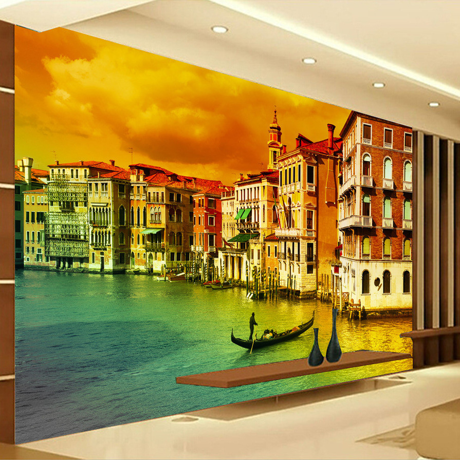 Custom Photo Wall Paper Venice City Landscape Large Mural Wallpaper European Style Living Room Sofa Bedroom Papel De Parede 3D custom photo wallpaper high quality wallpaper personality style retro british letters large mural wall paper for living room