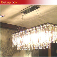 New Modern Rectangle K9 Crystal Chandelier Restaurant Light Luxury Lustres Crystal Pendant Lamp For Bar E14