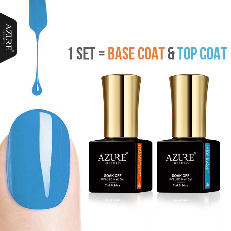 Azure Beauty Base & Top Coat Gel Nail Polish Varnish Long-lasting Soak Off UV Led Primer ...