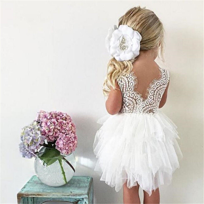 Summer Dresses For Girl 2018 Girls Clothing White Beading Princess Party Dress Elegant