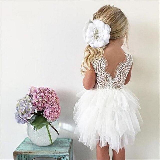 Vestidos de verão Para A Menina 2018 Meninas Roupas Brancas Beading Princesa Vestido de Festa Elegante Cerimônia 4 5 6 Anos de Adolescente traje