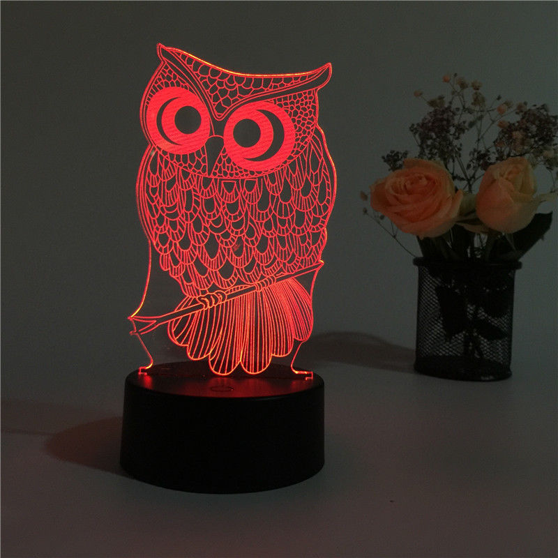 Christmas Decorations Illusion 3D Owl Led Table Desk Lamp Night Light Colorful Gradient Atmosphere 7 Colors