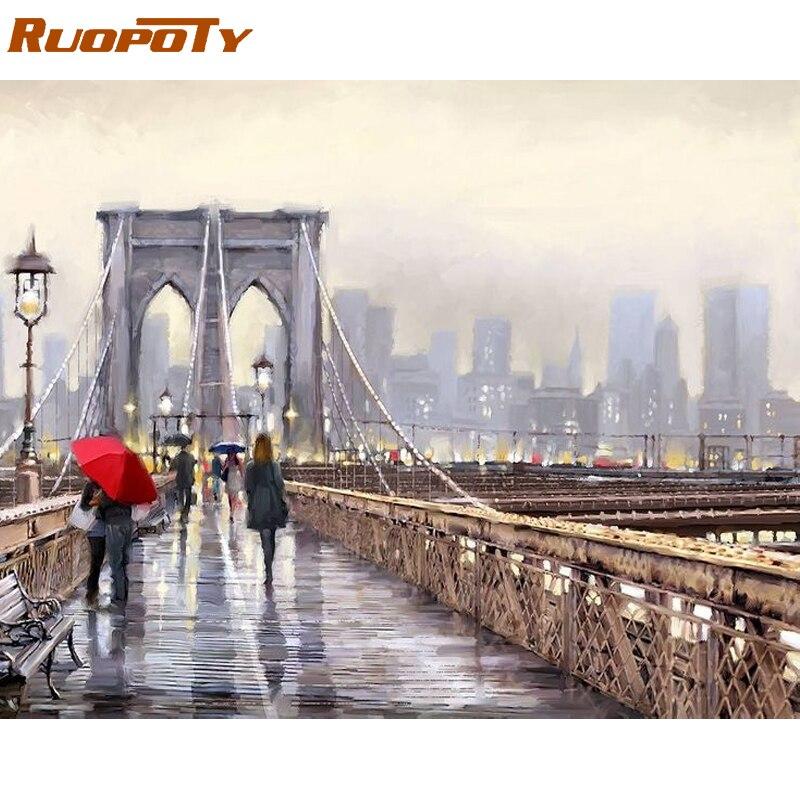 RUOPOTY marco puente ciudad DIY pintura por los números arte moderno de la pared caligrafía pintura de acrílico por número para la decoración casera
