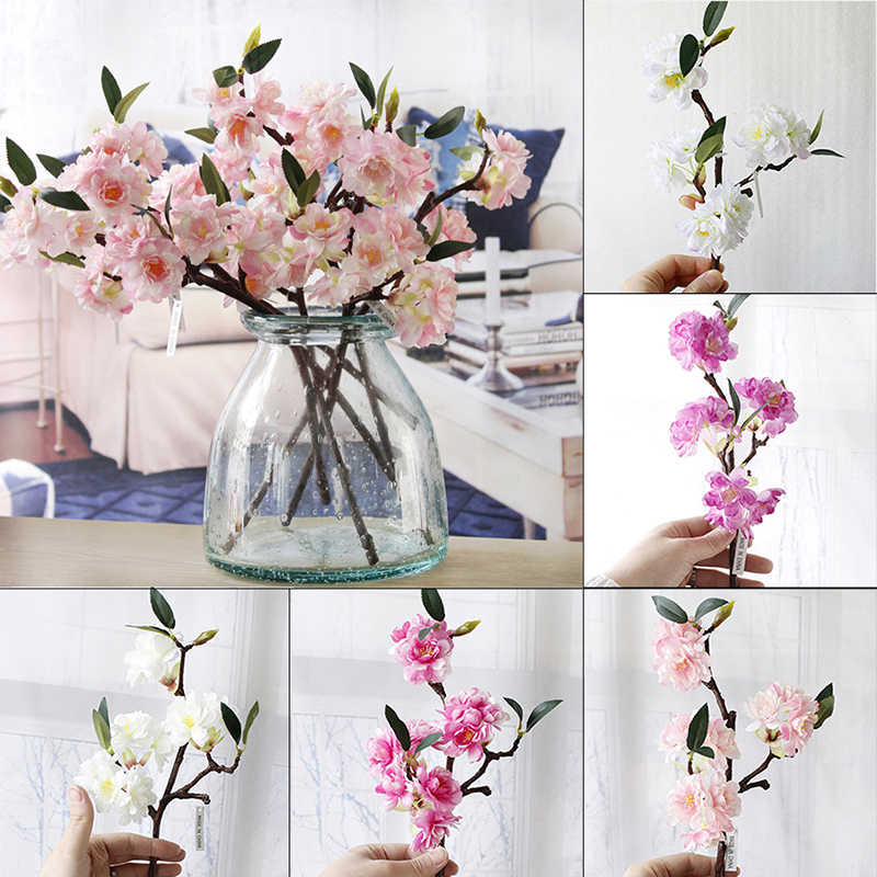 Buatan 3 Branchlets High-End Simulasi Bunga Sakura Tanaman Bunga Gaya Jepang Palsu Pernikahan Rumah Dekorasi