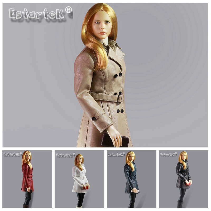 """1//6 Leather Trench Coat Set BEIGE For 12/"""" Phicen TBLeague Hot Toys Female Figure"""