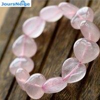 JoursNeige Ágata Natural de Color Rosa de Cristal Pulseras Tamaño de Los Granos 12mm Joyería en forma de Corazón Amor Pulsera para La Mujer Chica Sola vuelta