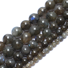 Natrual Round Stone Beads 4/6/8/10mm Genuine Grey Labradorite Stone Beads For Jewelry Making 15inches Diy Jewelry