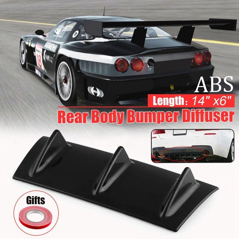 Plastic Black ABS Car-Styling Universal 14x6 Universal Lower Car Splitter Rear Bumper Lip Diffuser Shark Fin Spoiler Kit 3 Fin