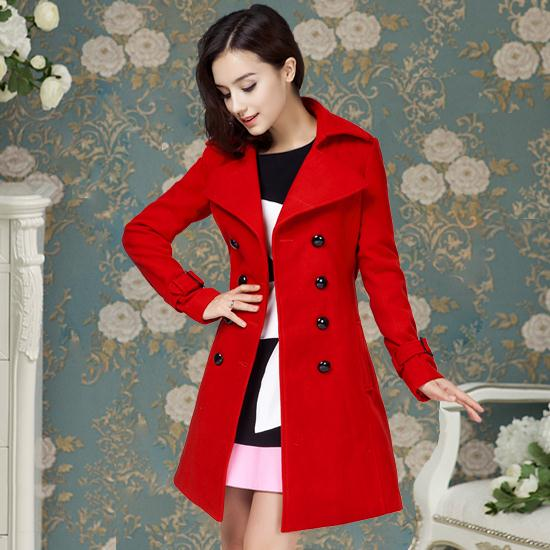 42956c492 Longo maxi casacos de inverno 2015 do vintage dupla breasted mulheres casaco  de lã vermelho casaco com cinto mulheres peacoat em Lã & Blends de Roupas  das ...