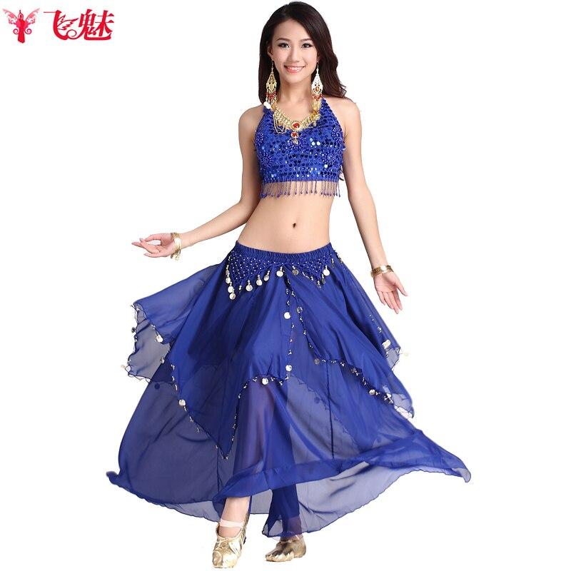 2f9335555d578 Lusso Indiano performance di Danza abbigliamento Paillettes lunghi top +  monete gonne 2 pz danza del ventre costume delle donne del vestito in Lusso  Indiano ...