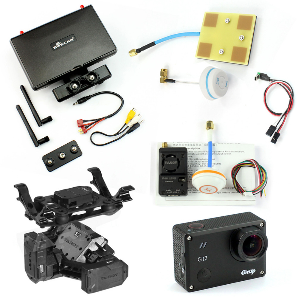 DIY Drone FPV Set with 1000mw Transmitter 7 Inch FPV Monitor T2-2D 2-axis Gimbal Gitup git2 Camera FPV Cable Panel Antenna with two batteries yuneec q500 4k camera with st10 10ch 5 8g transmitter fpv quadcopter drone handheld gimbal case