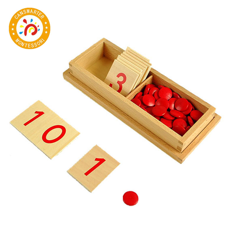 Montessori Kids Toys Wooden Box Numbers And Chips Educational Early Learning Toys For Children