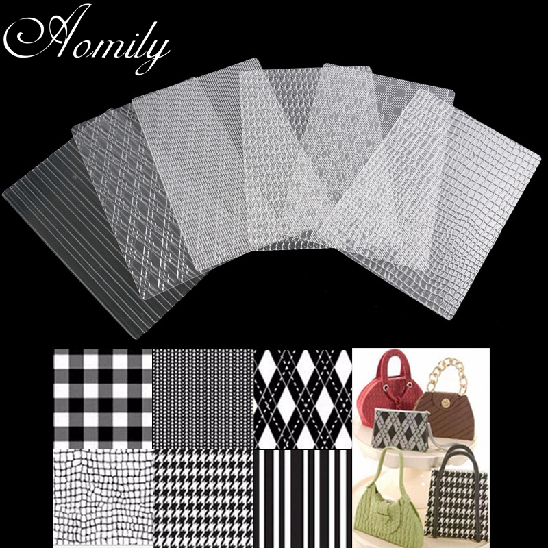 Aomily 6Pcs/Set Lattice Handbag Stripe Fondant Cake Molds Transparent Plastic Textured Sugar Crafts Sheet DIY Home Baking Tools