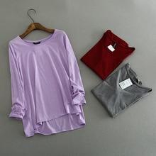 100% Cotton New 2019 Spring Female O Neck Long Sleeve T Shirt Women Harajuku Casual Loose Big Size Asymmetric Long T-shirts Top lace trim asymmetric neck t shirt