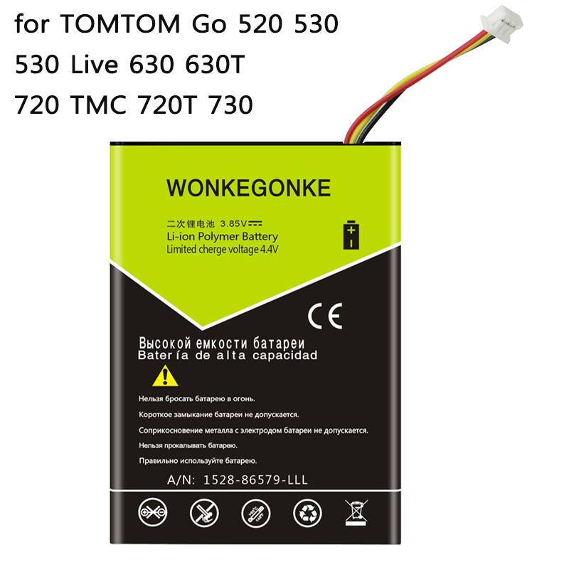 WONKEGONKE for TOMTOM VF8 No.VF8 battery AHL03714100 Go 520 530 530 Live 630 630T 720 TMC 720T 730 battery  WONKEGONKE for TOMTOM VF8 No.VF8 battery AHL03714100 Go 520 530 530 Live 630 630T 720 TMC 720T 730 battery