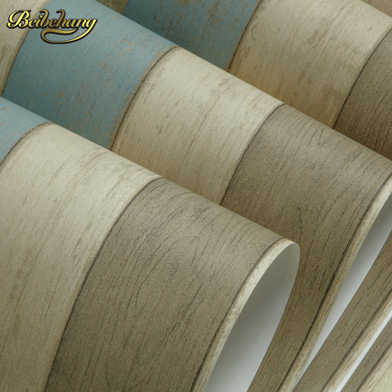 Beibehang nostalgia wood wall paper paper non woven for Living room paper