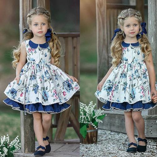 Kids Girls Princess Floral Unicorn A Line Sleeveless Vest Pageant Dress Sundress