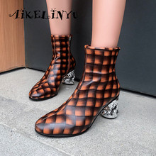 AIKELINYU Spring Autumn Fashion Women Ankle Boots Round Head British Style Zip Thick Med Heels Featured Checked Woman Shoe