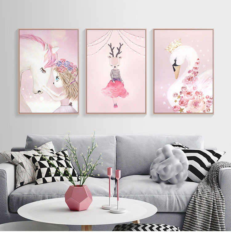 Nordic Watercolor Cartoon Rabbit Girl Canvas Painting Flower Poster Swan Wall Pictures Kids Room Home Decoration