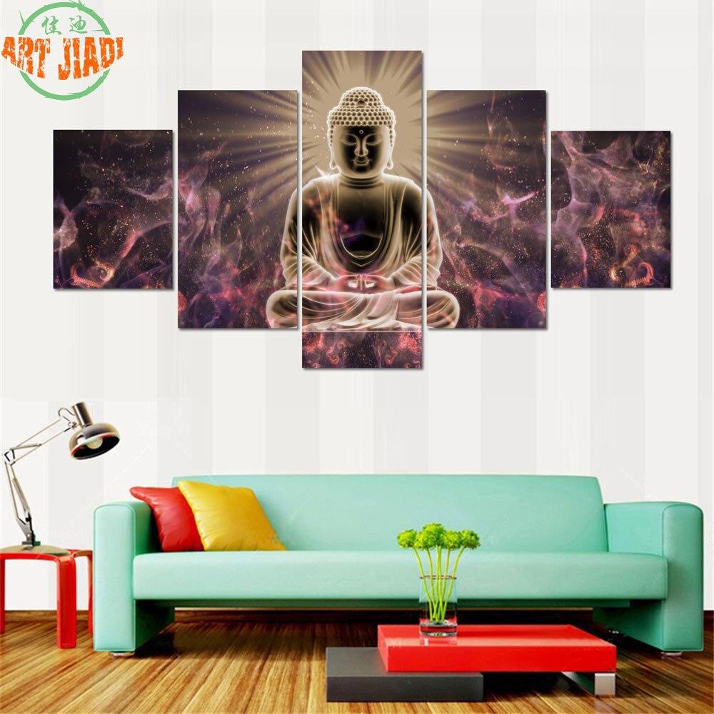 4 piece set or 5 piece set canvas art buddha zen wall art hd canvas painting decorations for. Black Bedroom Furniture Sets. Home Design Ideas