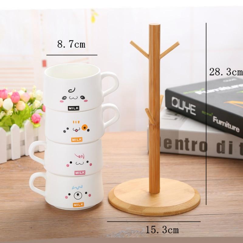 200ML coffee cup set matte ceramic mug gift coffee set personalized cafe mug 4 cups gift wooden rack - 4