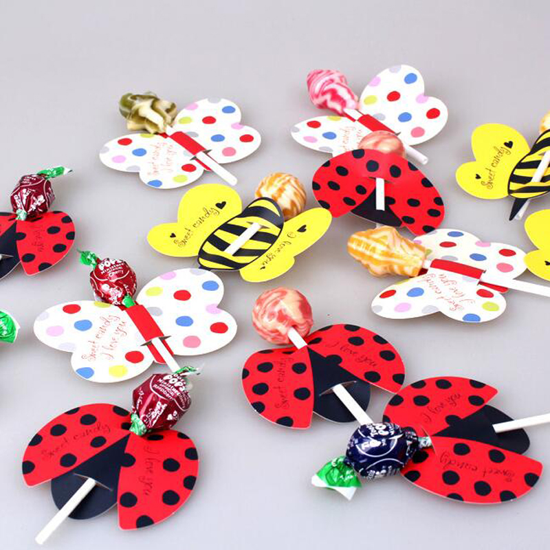 50pcs/lots Insect Bees Ladybug Butterfly Candy Lollipop Decoration Card For Kids Birthday Xmas Party Wedding Decor Candy Gifts