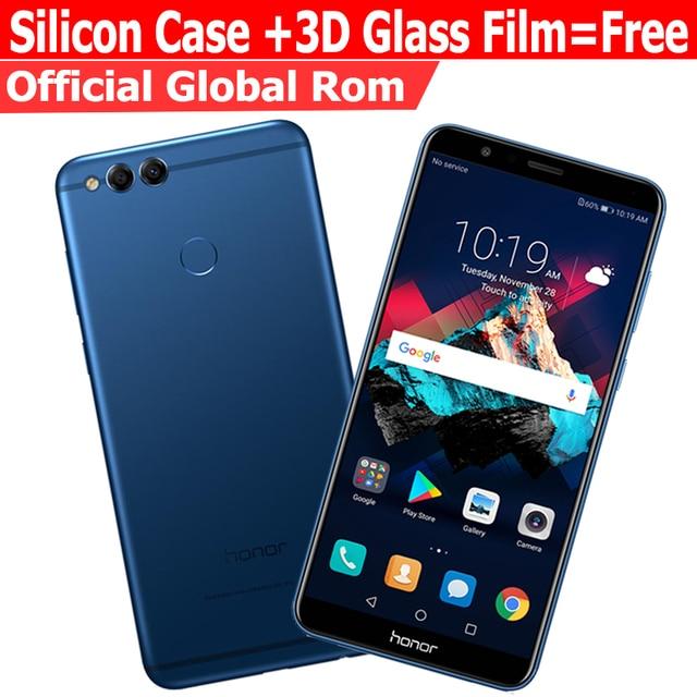 Глобальный Встроенная память Huawei Honor 7x4 г 32 г мобильного телефона Восьмиядерный двойной сзади Камера 3340 мАч 5.93 дюймов 2160*1080 P отпечатков пальцев
