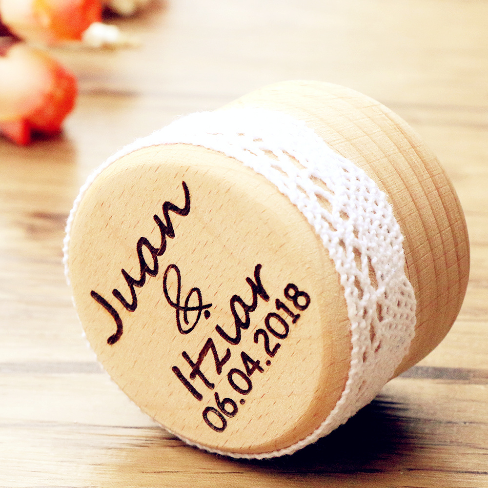 personalized gift rustic wedding ring bearer box laser