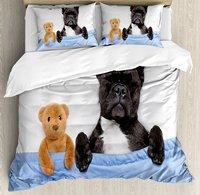 Постельное белье, французский Бульдог спальный с мишкой в уютный кровать best друзья весело мечты изображения, 4 шт. Постельное белье