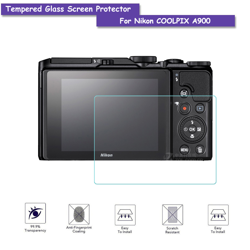 9H Tempered Glass LCD Screen Protector Real Glass Shield Film For Nikon COOLPIX A900 Camera Accessories