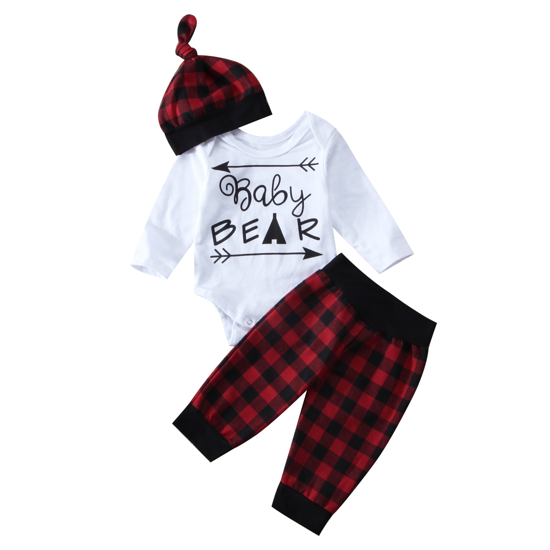 Red Plaid Christmas Infant Baby Girls Bear Romper Pants Leggings 3Pcs Baby Set Clothing Outfits Clothes snowmen infant christmas costume baby girl clothes red romper with hat roupas de bebe infant clothing kids christmas outfits