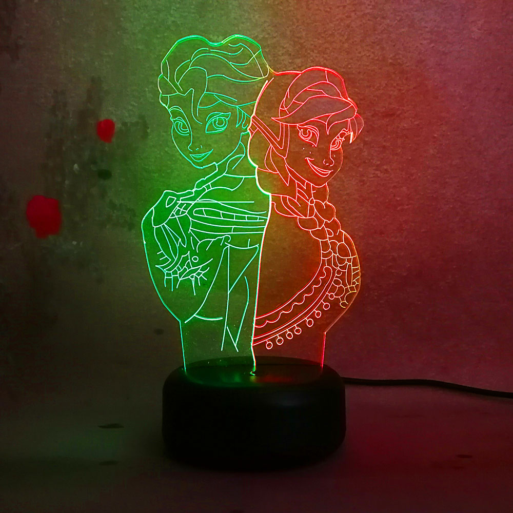 New Snow Queen Princess Elsa Anna Action Figure 3D Night Light mixed Color Changed Bulb Lamp Chrismas Table Decor Kids Gifts