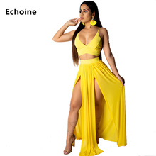 Chiffon Two Piece Set Crop Top and Long Skirt Spaghetti Strap Sexy Split Skirt Set Club Outfit V-neck Elegant Party Skirt Set цены