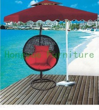 Patio black rattan swings with cushions supplier
