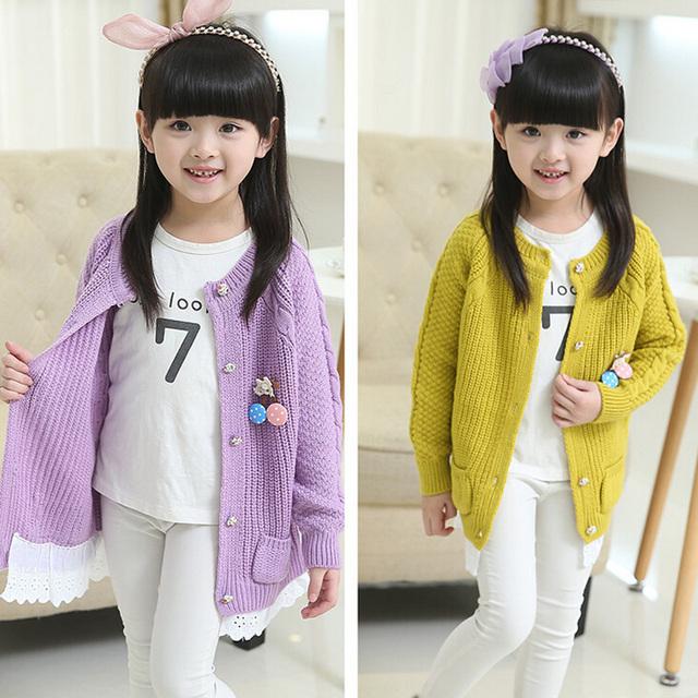 Da menina suéter de roupas infantis, 2016 nova outono 3-14 anos meninas do bebê roxo camisola crianças casaco casaco de lazer