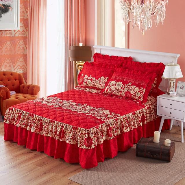 Утепленные кровать юбка двойной кружева покрывало кроватный подзор Полиэстеровая простыня для свадьбы новоселье подарок покрывало с Эластичная лента