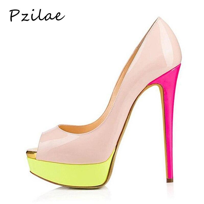 Dames Plate Talons Stiletto De Chaussures Femmes Hauts 16 Pompes Sexy Pink Pzilae 2019 Toe Cm Femme Peep Partie Mode forme wk0OPn