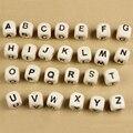 260 шт. Письмо Бисер для Настроить Имя на Соску Клипы Смешанные форма Деревянный Алфавит Бисер для Любое Имя на Соску Цепи DIY