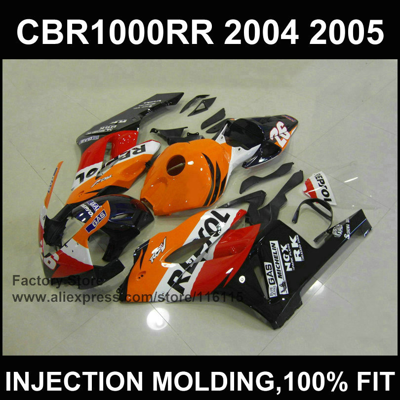 Black orange repsol ABS plastic fairing kit for   CBR 1000RR Injection mold fairings 2004 2005  cbr1000rr 04 05  bodyworks aftermarket injection mold custom design givi fairing body kit for 04 05 cbr1000rr cbr 1000 rr 2004 2005