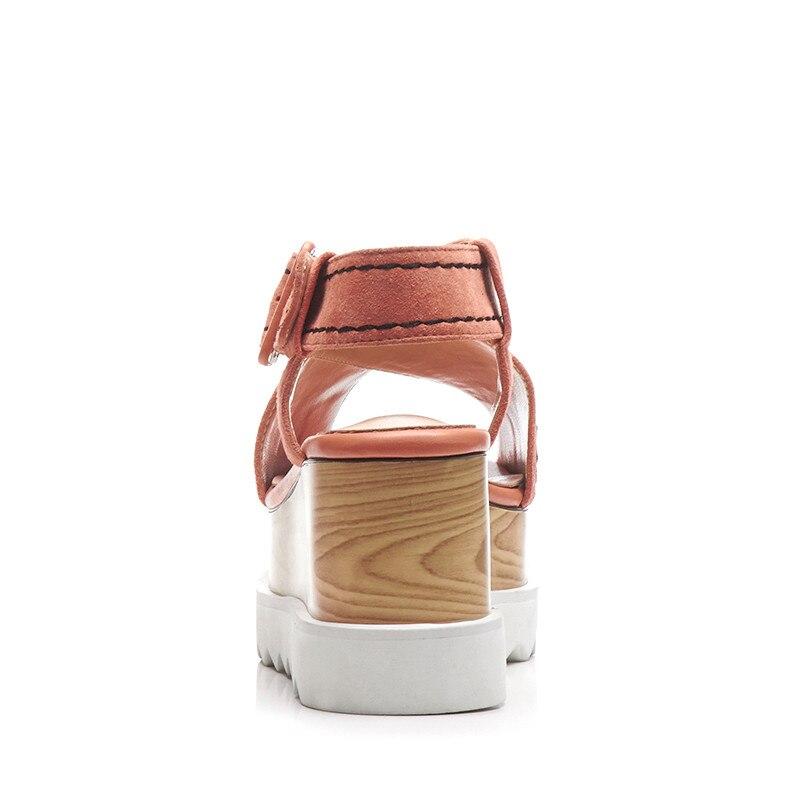 De En Talon Suede Compensées Ribetrini Mode Cuir forme Véritable Noir Femmes Femme rose Plate Sandales Size33 Kid Boucle Grand 40 Chaussures Sangle x77Iw0APq