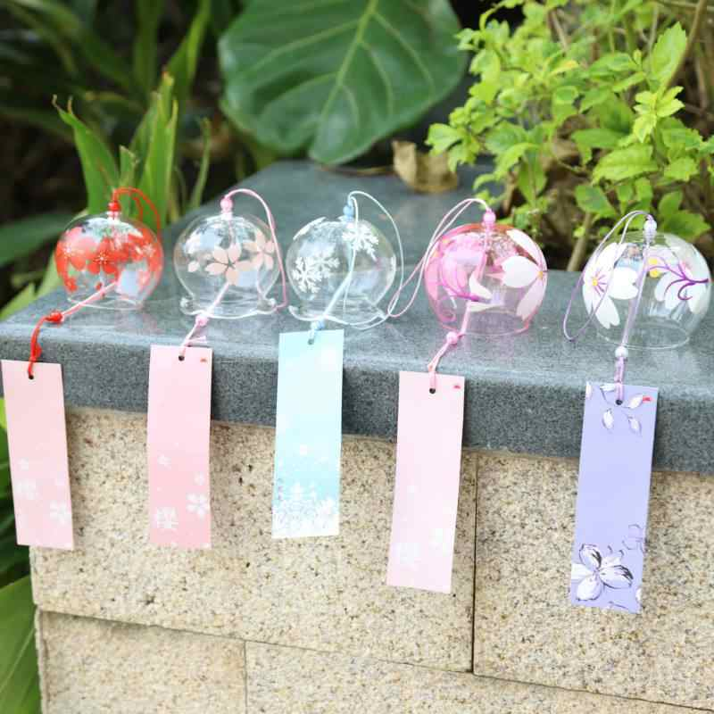 Creative Japan Style Hibiscus Decor Pattern Glass Hanging Wind Chime Blessing Girls Decoration Crafts Wind Bells Office Pendant