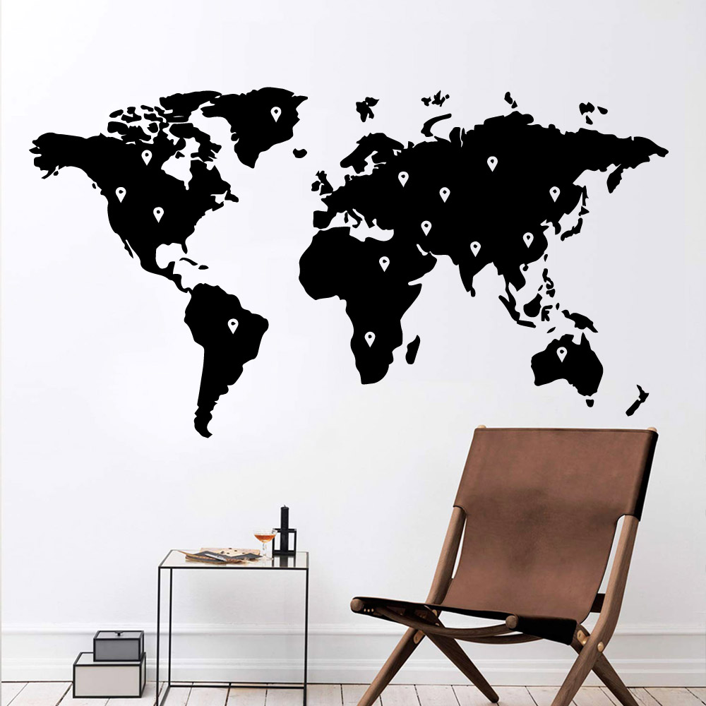 Pretty map Wall Stickers Self Adhesive Art Wallpaper For Kids Room Living Room Home Decor Removable Mural