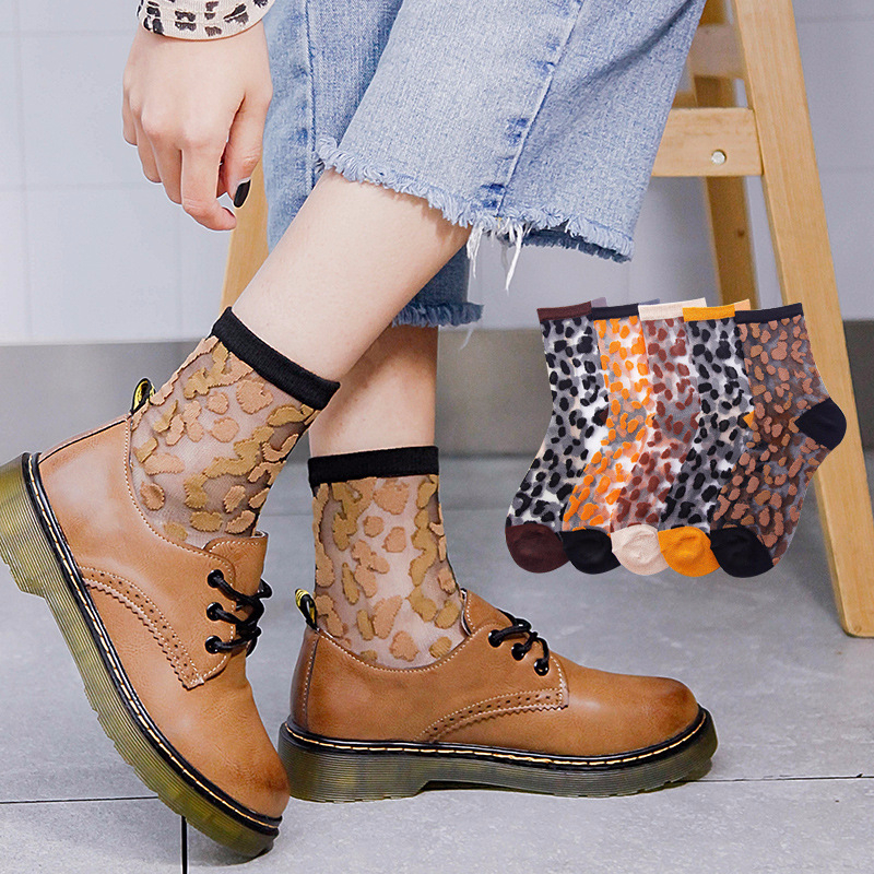 SP CITY Thin Transparent Leopard Patterned Summer Woman Socks Chic Funny Hipster Harajuku Short Socks Summer Cool Ankle Socks in Socks from Underwear Sleepwears