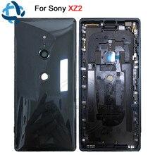 Novo para sony xperia xz2 voltar bateria porta capa traseira habitação h8216 h8266 h8276 h8296 traseira caso de vidro com câmera lente