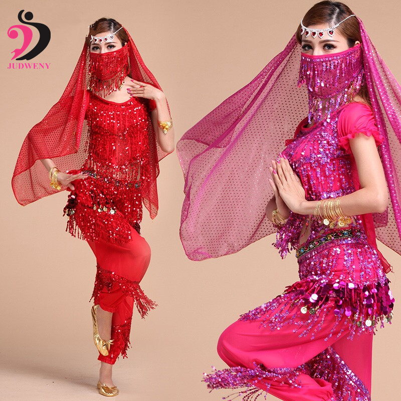 Belly Dance Costumes Set Long Gypsy Costume Oriental Belly Dancing Bollywood Indian Ballroom Stage Tassel Top+Pants 4 Colors