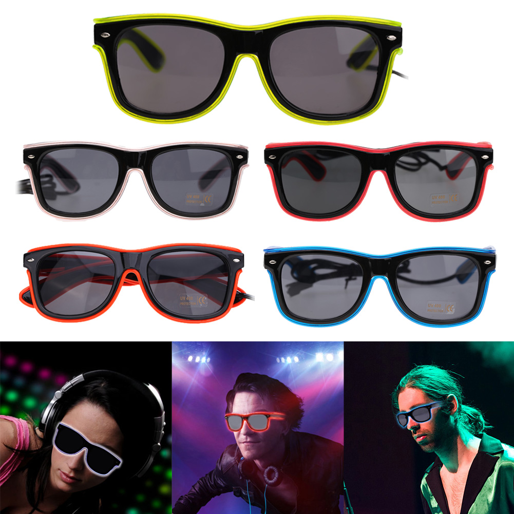 5 Color EL luminous Glasses The Trend Of The EL Dazzle Beautiful Shine Nightclub Show Flash Glasses for Halloween Xmas Party