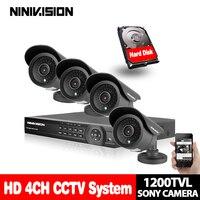 4CH CCTV DVR kit 1200TVL 720p Outdoor Waterproof IR Cameras DVR Recorder CCTV Security set Kit System 3G,WiFi,p2p,mobile view