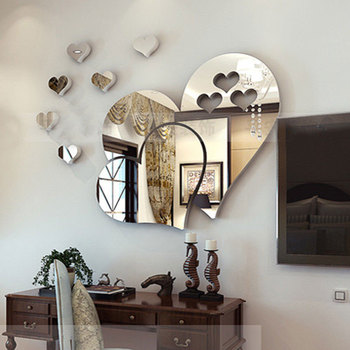 20cm Acrylic heart shape Mirror Wall Stickers Mirror  Effect Removable Love 3D Wall Surface Sticker DIY Home Decoration 4 Colors 8