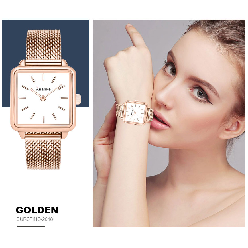 d9ddfb82f253 ANANKE Women Lady Fashion Rose Gold Watches Simple Slim Square Japanese-Quartz  Movement Waterproof Stainless Steel Mesh Band