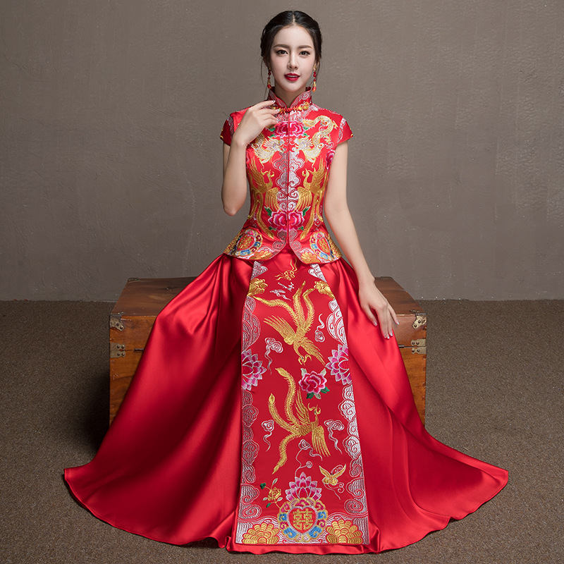 Red Bride Qipao Wedding Dress Women Traditional Chinese Style Marry Cheongsam Long Vestido Oriental Dresses Robe все цены